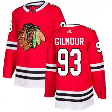 Authentic Adidas Men's Doug Gilmour Chicago Blackhawks Red Home Jersey - Black