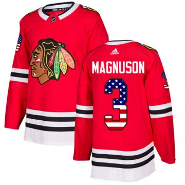 Authentic Adidas Men's Keith Magnuson Chicago Blackhawks Red USA Flag Fashion Jersey - Black