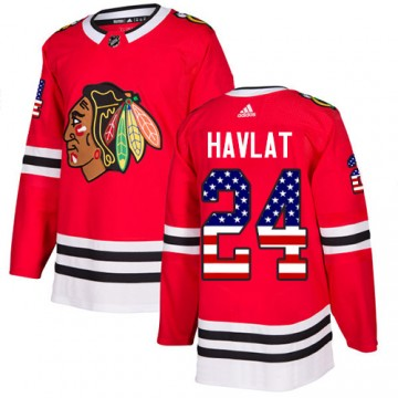 Authentic Adidas Men's Martin Havlat Chicago Blackhawks Red USA Flag Fashion Jersey - Black