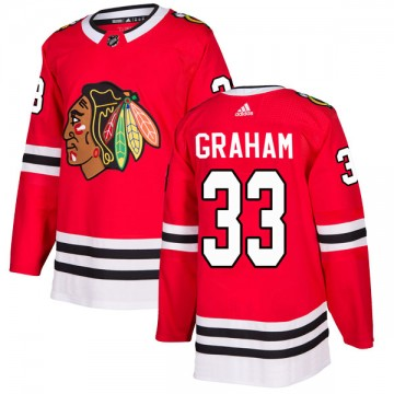 Authentic Adidas Youth Dirk Graham Chicago Blackhawks Red Home Jersey - Black